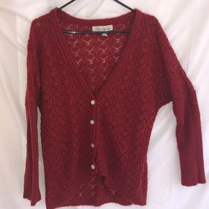 Sweaters - Deep Red Knitted Cardigan